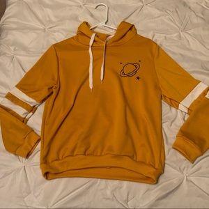 Yellow Saturn Long sleeve sweater with hood